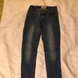 Women stretch jean